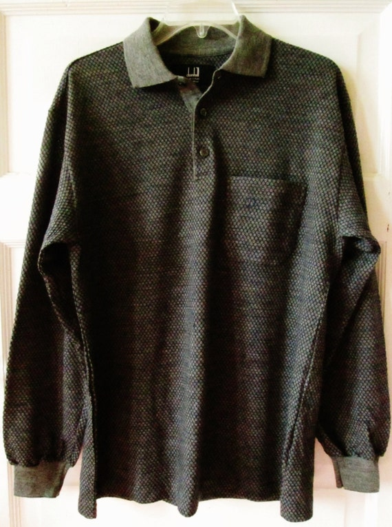 Mens Vintage Dunhill Wool Knit Polo Shirt Long Sleeve Great