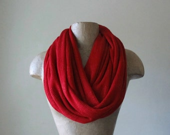 LIPSTICK RED Tube Scarf - Sweater Knit Infinity Scarf - Scarlet Red Circle Scarf - Holiday Red Fashion Scarf