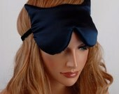100% Silk Eye Mask Cat Sleep Mask, Navy Blue Charmeuse, Fully Adjustable, Padded, Light Darkening for Sleep, Travel and Anti-Aging