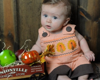 Orange Gingham Faux Smocked Turkey Boy  Longalls-Personalization NOT included