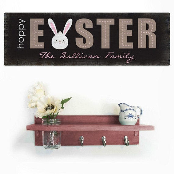 Personalized Wood Wall Decor : Easter wood personalized wall sign decor