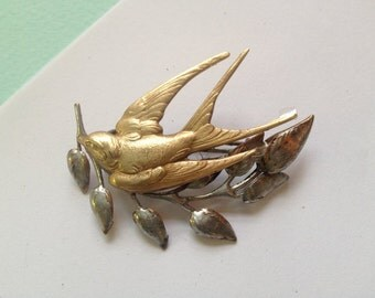 Swooping Swallow Brooch