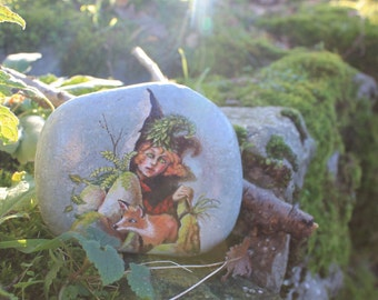 Painted stone. Painted rock Ready to ship. Little fairy with fox , sprite of the forest painted pebble. Beach pebbles art
