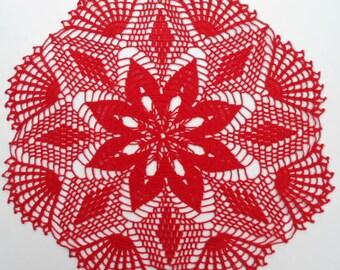 """Red crochet doily , Christmas crochet doily ,  Lace Doily , 18 """""""