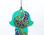 Hamsa Wall Art, Mehndi Inspired Design, Flower Paisley Hand Painted Wood Hand of Fatima Decor, Housewarming, Holiday Gift