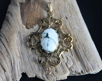 White Howlite Pendant Gold Plated 13 x 18 mm - Item 1352