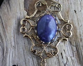 Purple Dyed Howlite Pendant Gold Plated 13 x 18 mm - Item 1349