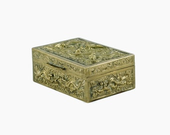 Antique Chinese Cast Brass Cedar Lined Box with Dimensional Dragon Motif