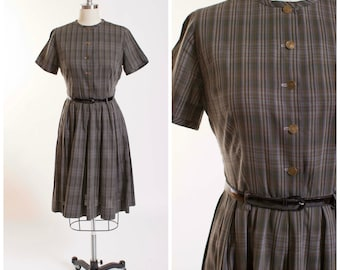 50s Vintage Dress Plaid Cotton Vintage 1950s Shirtwaist Dress with Coin Buttons Size Small