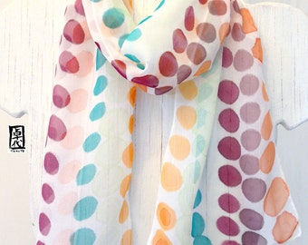 Hand Painted Silk Scarf, Dots Adorable Scarf, Handmade Silk Scarf. Multicolor Scarf, Silk Chiffon Scarf. 7x50 inches.