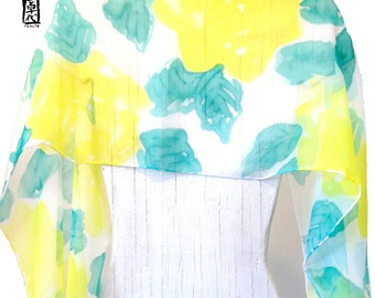 Handpainted Silk Scarf, Gift for Women, Green and Yellow Scarf, Spring Roses Scarf, Large Silk Chiffon Scarf, Silk Scarves Takuyo, 14x72 in.