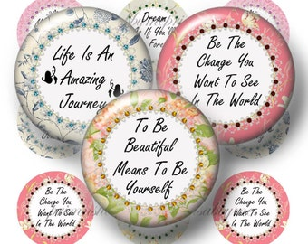 Digital Collage Sheet, Bottle Cap Images, Inspirational Sayings, 1 Inch Circle, Motivational Sayings, Instant Download, Pendants  (No.2)