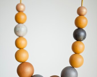 Mustard yellow wood necklace - dark grey large wood necklace - color block beads - fashion -leather cord - grey beads - ochre yellow jewelry