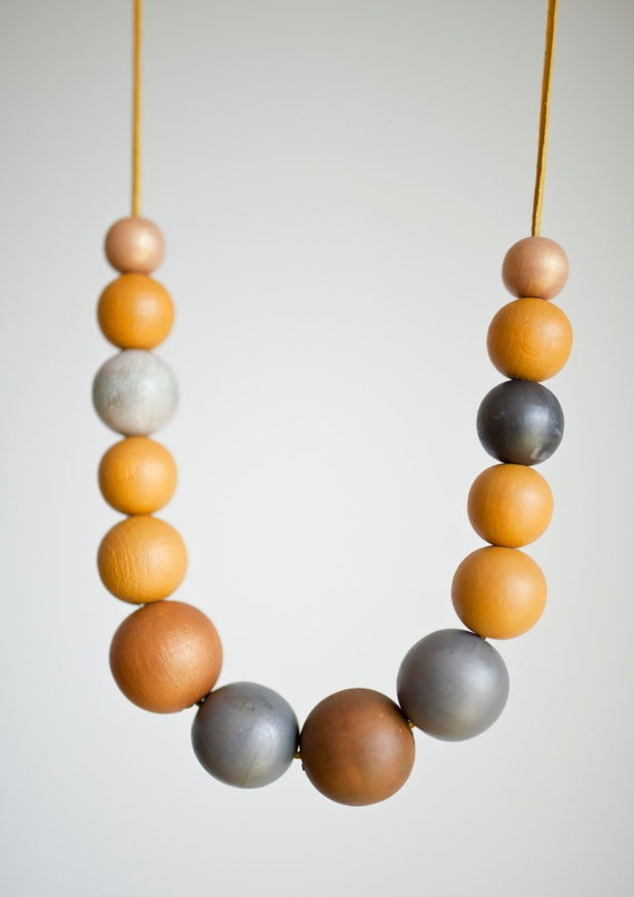 Mustard yellow wood necklace dark grey large wood necklace for Mustard colored costume jewelry