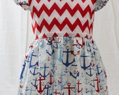 Nautical Chevron Red and Blue Ruffle Low Backed Toddler Dress