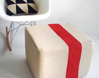 Natural Pouf/Floor Pouf/Ottoman/Stripe Pouf/Red Stripe/Urban/Minimalistic/Modern/Floor Pouf/Foot Stool/Nursery Pouf/ Zigzag Studio Design