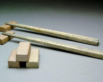 Set of 5 Rich Dark Brown Hand Built Hashioki or Chopstick Rests