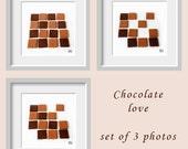 Chocolate photograph, Chocolate love, Dark chocolate, Milk chocolate, Chocolate chessboard, Kitchen art, Coffee shop decor, neutral brown