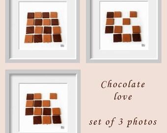 Chocolate photograph, Food photography, Set of 3 prints, Kitchen art, Dark chocolate print, Café décor, Dining room décor, Chocolate lover