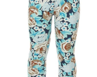 Girls Blue Floral Patterned Leggings