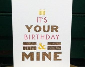 Twin Birthday Letterpress Card  --- by BIMPRESSED