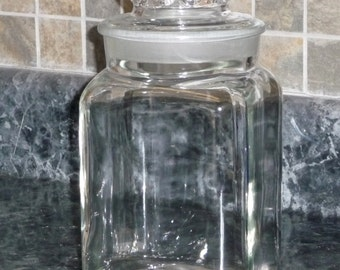 Large Glass Square Apothecary Jar - 9.5in x 5in
