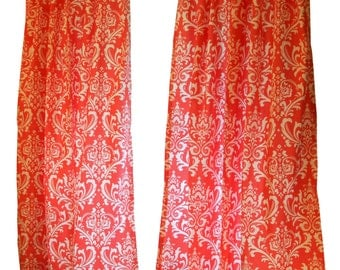 clearance damask curtains pair of drapery panels premier prints coral ozborne curtains 50wx63l