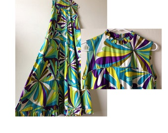 1960s Color Bloom Shift Dress / Laugh In Dress / ColorBurst Fabric / 1960s Fabric / Sleeveless Maxi Shift Dress / Retro Style