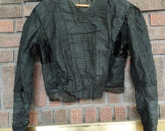 Victorian Blouse w/ Open Front & Small Pleating / Victorian Blouse / Historical Costume / Black Victorian Blouse