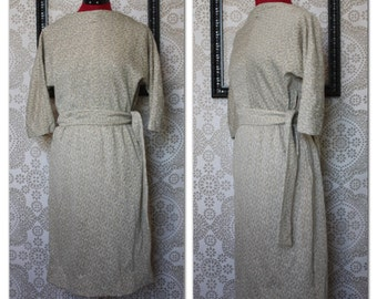 Vintage 1960's Gray Wool and Silver Metallic Thread Fitted Dress M/ L