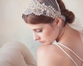 Crystal Bridal Cap, Silver Swarovski Crystal Headpiece, Art Deco Crystal beaded headdress, Modern Bridal Veil, Tie on Tulle Bridal Headband