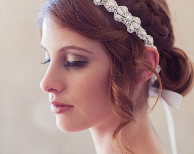 White Modern Headband, White Crystal Bridal Headband, Tie-on Crystal Headpiece, White Wedding Hair Accessories, Bridal Hair Piece, Halo
