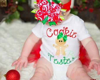 Cookie Tester - Christmas shirt - Gingerbread - First Christmas - Santa - Christmas outfit - 1st Christmas