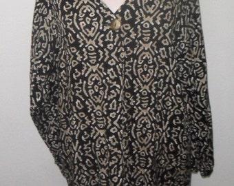 Vintage Blouse Shirt Top Avon Ethnic Tribal Print Medium