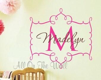 Nursery Wall Decal Baby Girl Name Monogram Initial Frame Custom Vinyl Lettering Wall Art Shabby Chic