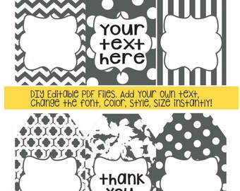 Gray gift tags; DIY add your own text; instant edit & print gift tags; gift tag; polka dot; stripe; patterned gift tag; printable gift tag