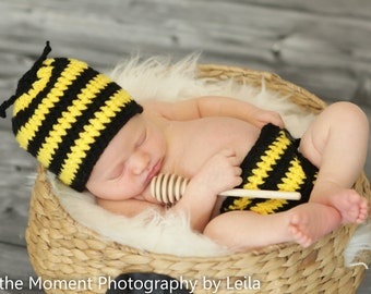 Bumblebee Hat and Diaper Cover Set Newborn Photo Prop Baby Boy Girl Sizes Newborn 3 Months