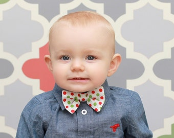 Baby Boy  Bow Tie Photo Prop Birthday Cake Smash First Birthday Sizes Newborn-2T Christmas Holiday Red Green Polka Dots on White