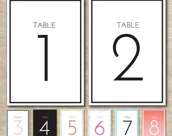Table Numbers Wedding Bat Mitzvah Shower Printable Custom Personalized