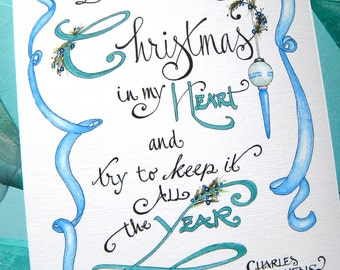 Dickens Christmas Card - Christmas Carol Quote - Christmas Typography - I will honor Christmas in my heart