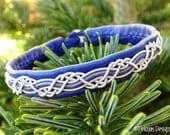 HUGINN Sami Viking Bracelet Swedish Lapland Blue Reindeer Leather Bracelet with braided Pewter and Antler Button - Nordic Tribal Spirit