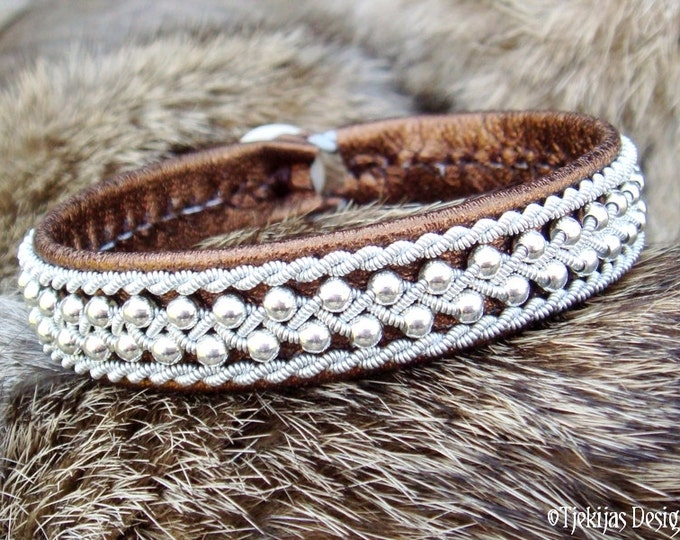 Swedish Viking Sami Lapland Bracelet ROSKVA Bronze Lambskin Cuff with Sterling Silver Beads in Spun Pewter Braids and Antler button