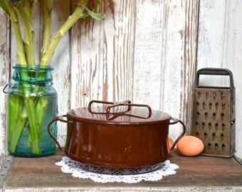 Vintage Brown Dansk Kobenstyle Enamel Dutch Oven Cookware Casserole Enamelware Pot with Lid- IHQ Enameled Jens Quistgaard