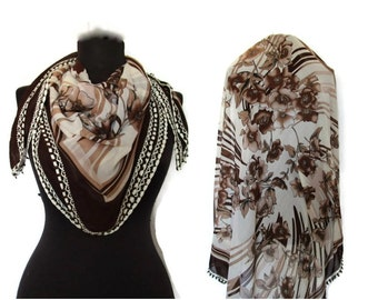 Brown Grandmother SHAWL,  Floral Print  Scarf,Bridal Scarf,Authentic, Romantic, Fashion, 1985s Vintage Scarf