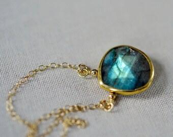 Gold Bezeled Labradorite Pendant Minimalist Necklace on 14k Gold Filled Chain