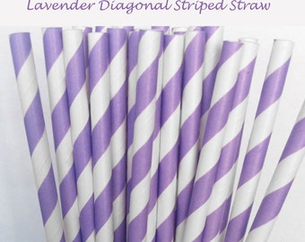 Lavender Striped Paper Straws (S16) with free printable DIY Toppers - Pack of 25 or 50 Straws