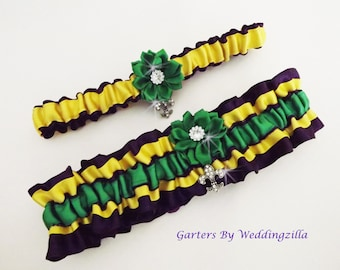 Mardi Gras Wedding /Garter Set/ Bridal Garter Set /Wedding Garter Belt/MARDI GRAS WEDDING