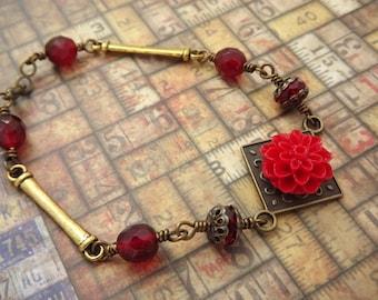 Red Carnation and Brass Victorian Bracelet