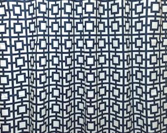 Premier Navy Keyhole Curtain Panels. 2 Panels. Drapery Window Treatments. Navy Blue Geometric Curtains.