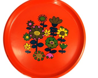 60s Orange Mod Flower Tray Made Japan - Free Shipping US